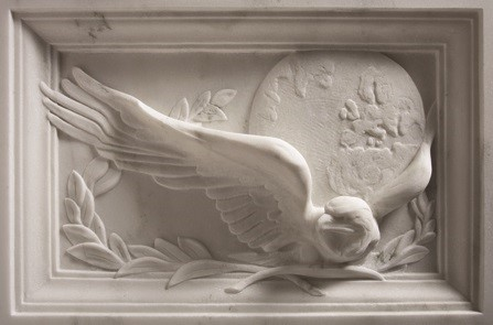 Eagle with laurel and globe on Fallen Agent Memorial