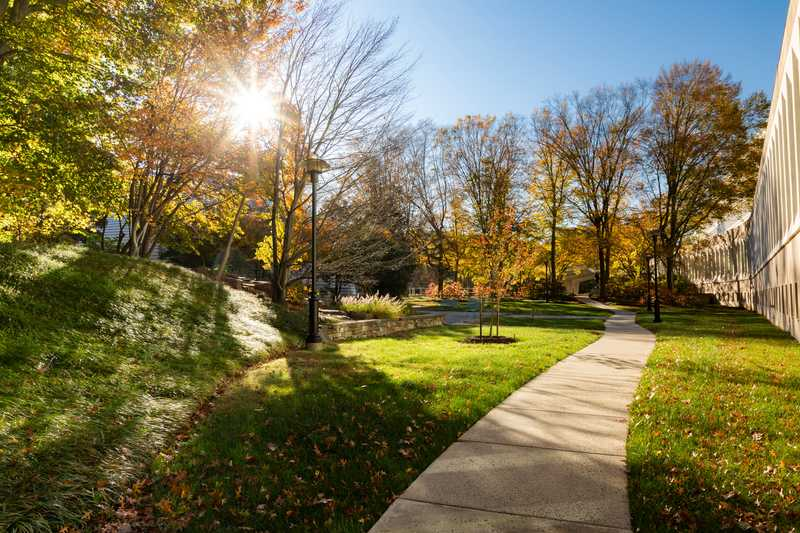 A sunny path outside CIA headquarters in fall.
