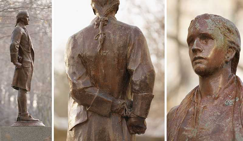 A side view, rear view, and close up of a bronze-colored statue of Nathan Hale with his hands tied behind his back.
