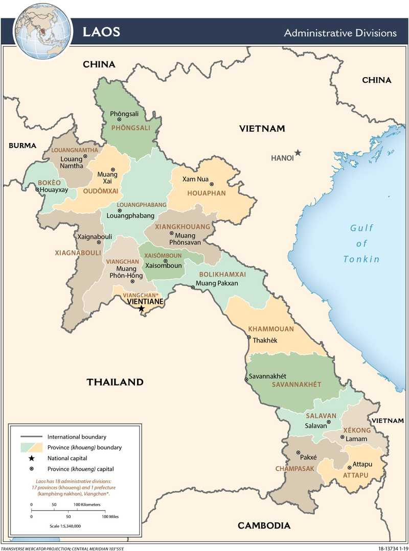 Administrative map of Laos.