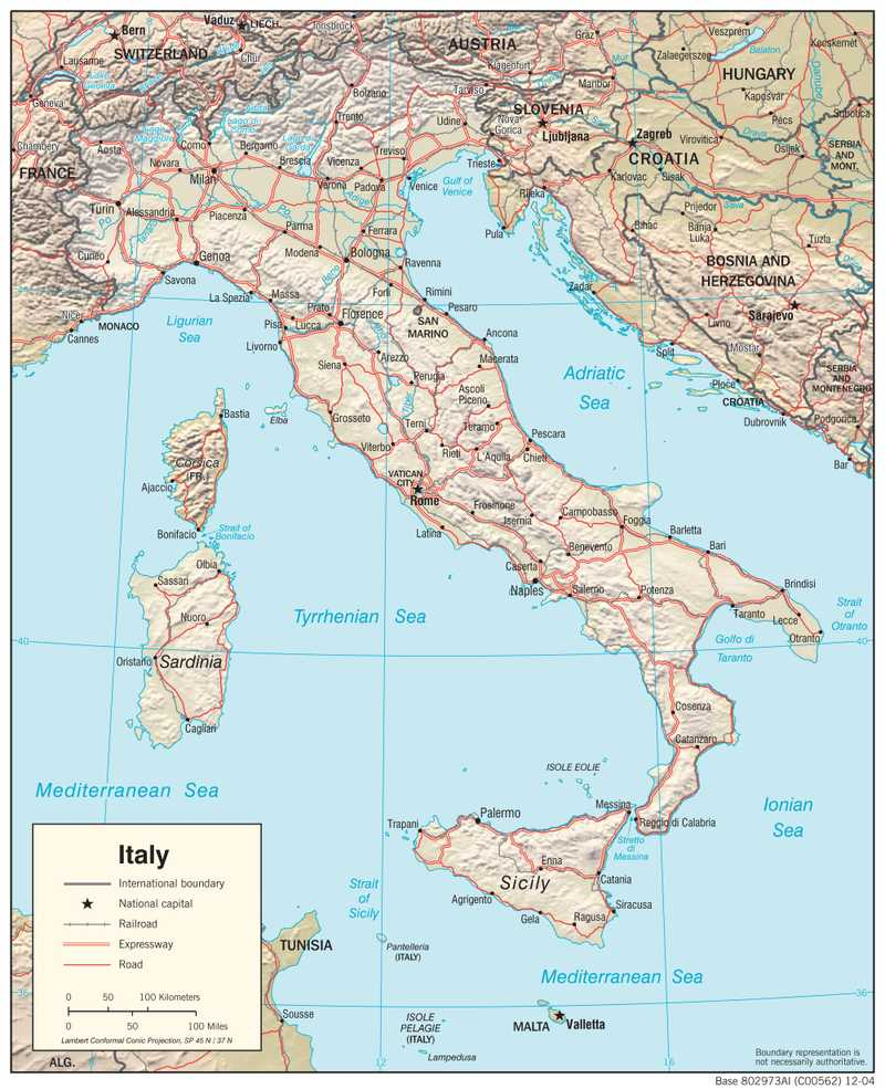 Physiographical map of Italy.