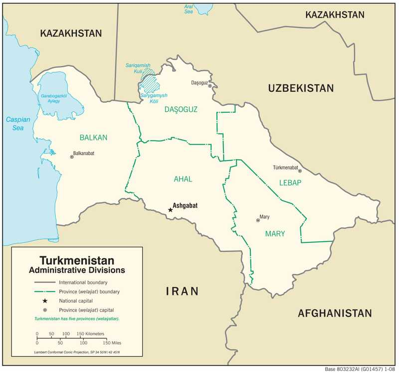 Administrative map of Turkmenistan.