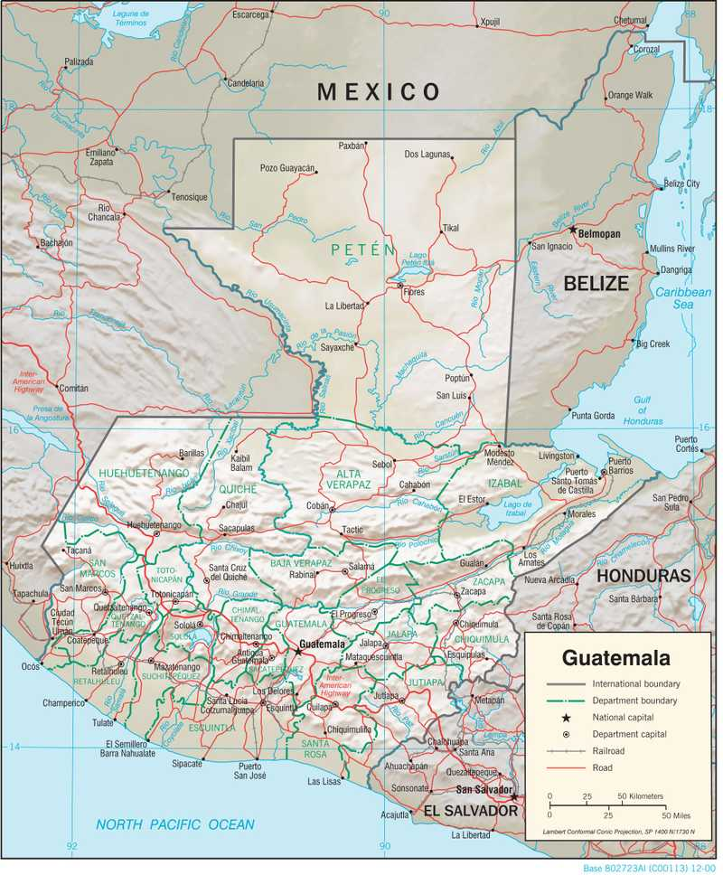 Physiographical map of Guatemala.