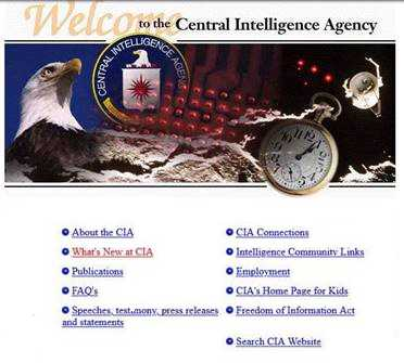 Screenshot showing CIA.gov as it appeared in 1998.