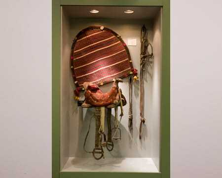 A decorated saddle pictured with accompanying accessories