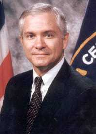 Headshot of Robert M. Gates in coat and tie.