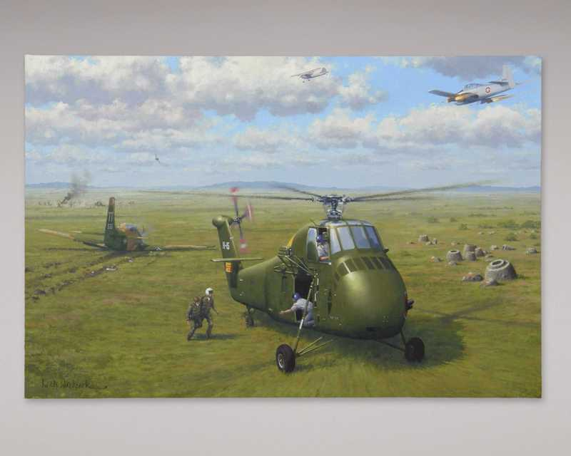 A painting depicting a small plane and a military helicopter in a large grass field