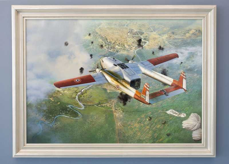 A painting of a damaged and smoking Civil Air Transport plane with parachuted supplies dropping to the ground
