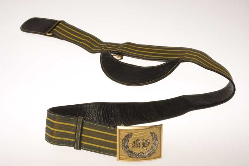 A yellow and black striped belt with