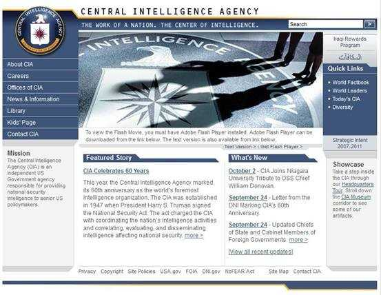 Screenshot showing CIA.gov as it appeared in 2007.