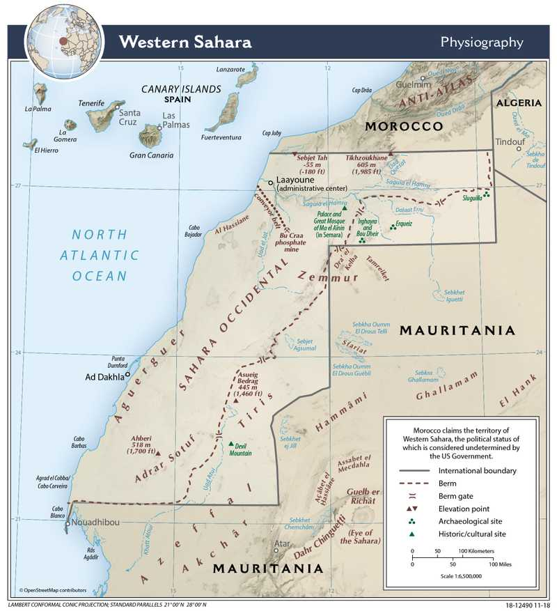 Physiographical map of Western Sahara.