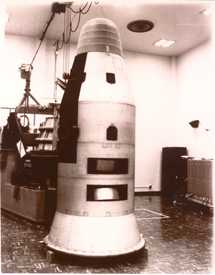Part of the CORONA Satellite, a rocket-shaped metal object.