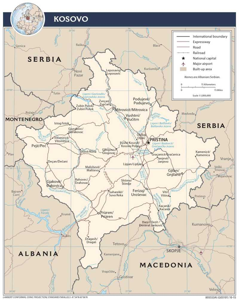 Transportation map of Kosovo.