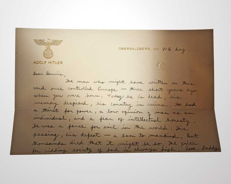 A letter written by Richard Helms on Adolf Hitler's stationery