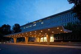 Image of the CIA Headquarters at night.