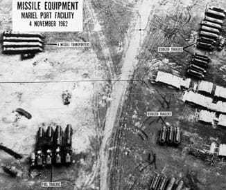 An aerial photo of missile equipment at Mariel Port Facility