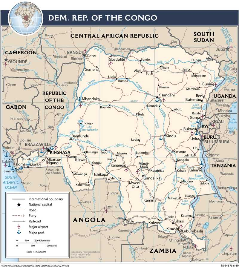 Transportation map of Democratic Republic of the Congo.