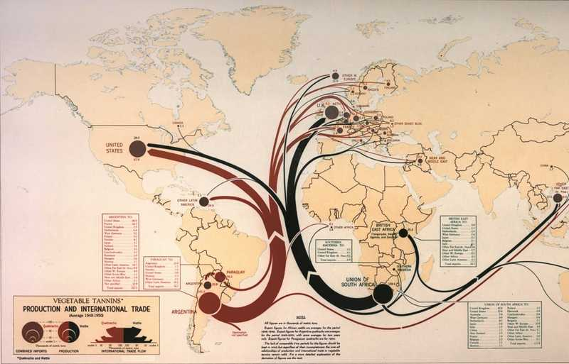 A world map showing international trade with red and black lines.