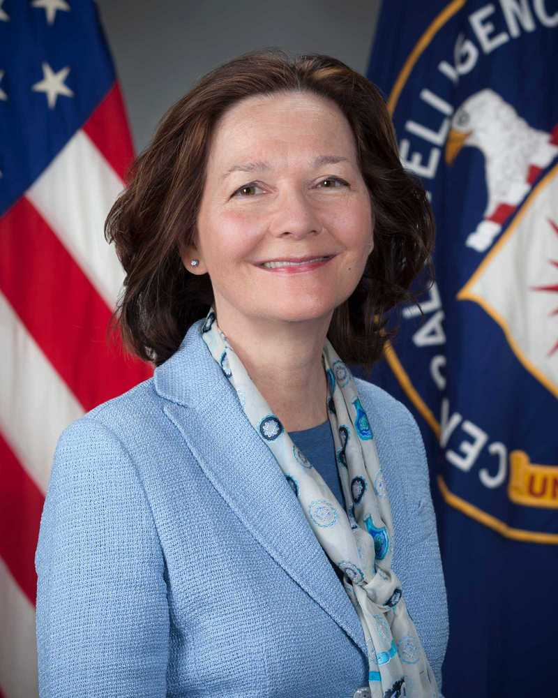 A headshot of Gina Haspel standing in front of the American flag and the CIA flag.