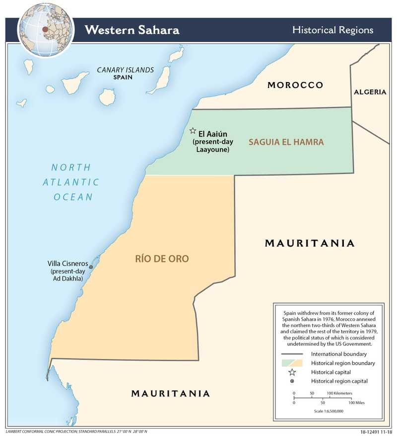 Administrative map of Western Sahara.