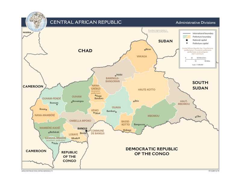 Administrative map of Central African Republic.