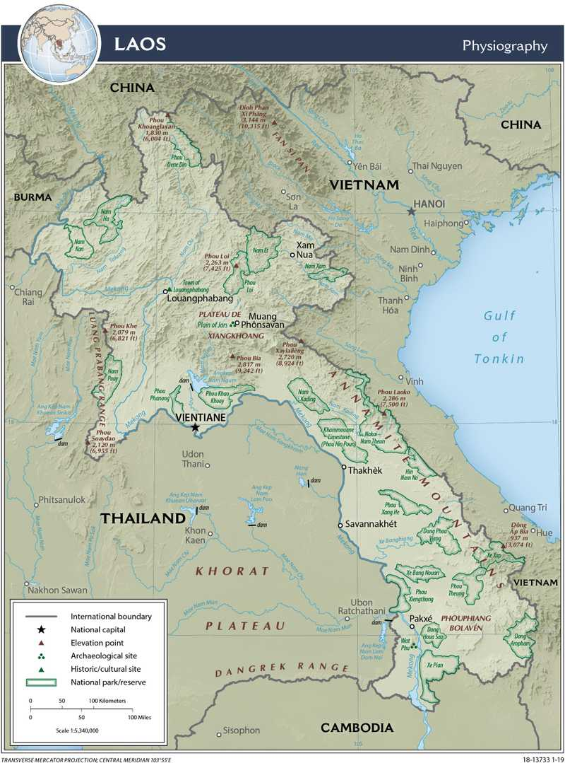 Physiographical map of Laos.