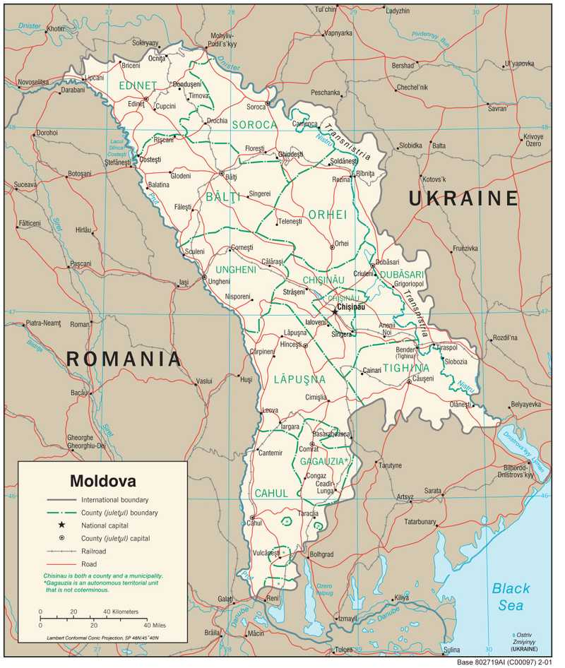 Transportation map of Moldova.