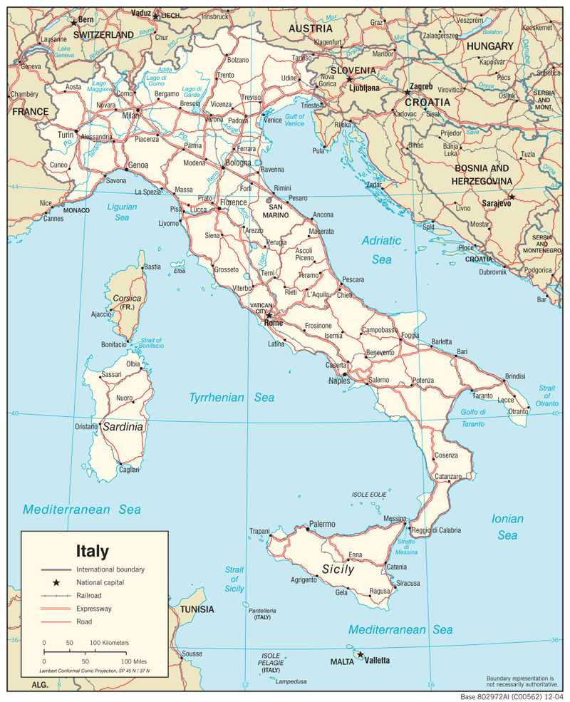 Transportation map of Italy.