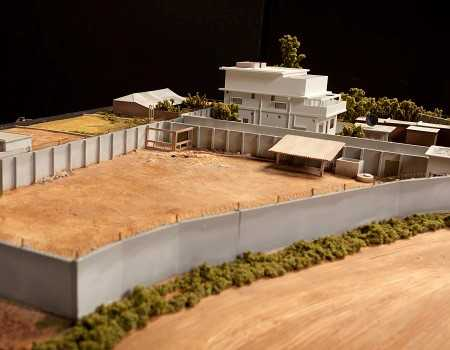 Model of the Abbottabad compound from the side
