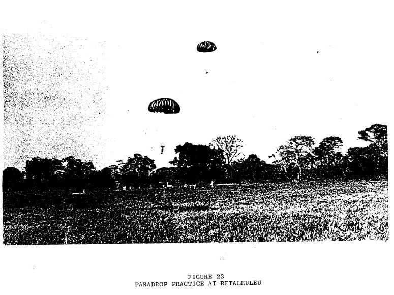 A dark black and white photograph of paratroopers in-flight.