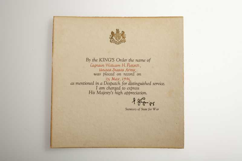 A square letter from the British Secretary of State for War recognizing U.S. Captain William Pietsch for esteemed service.