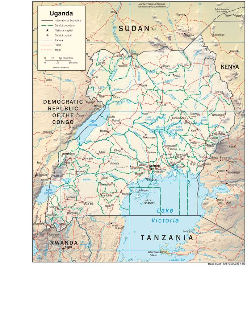 Physiographical map of Uganda.