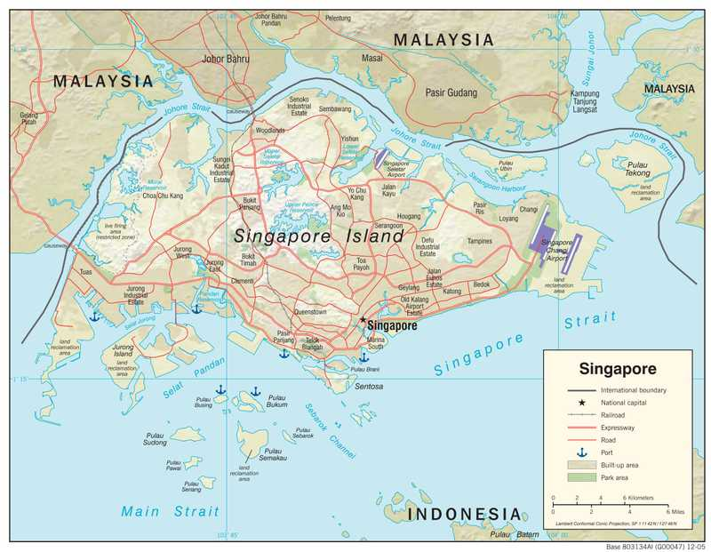 Physiographical map of Singapore.