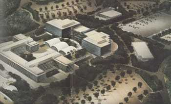 Model of the new headquarters building.