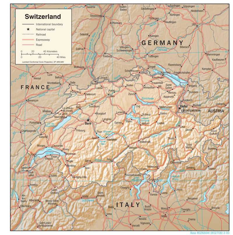 Physiographical map of Switzerland.