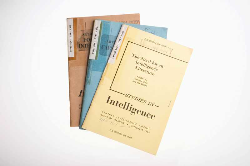 Three issues of Studies in Intelligence fanned out.