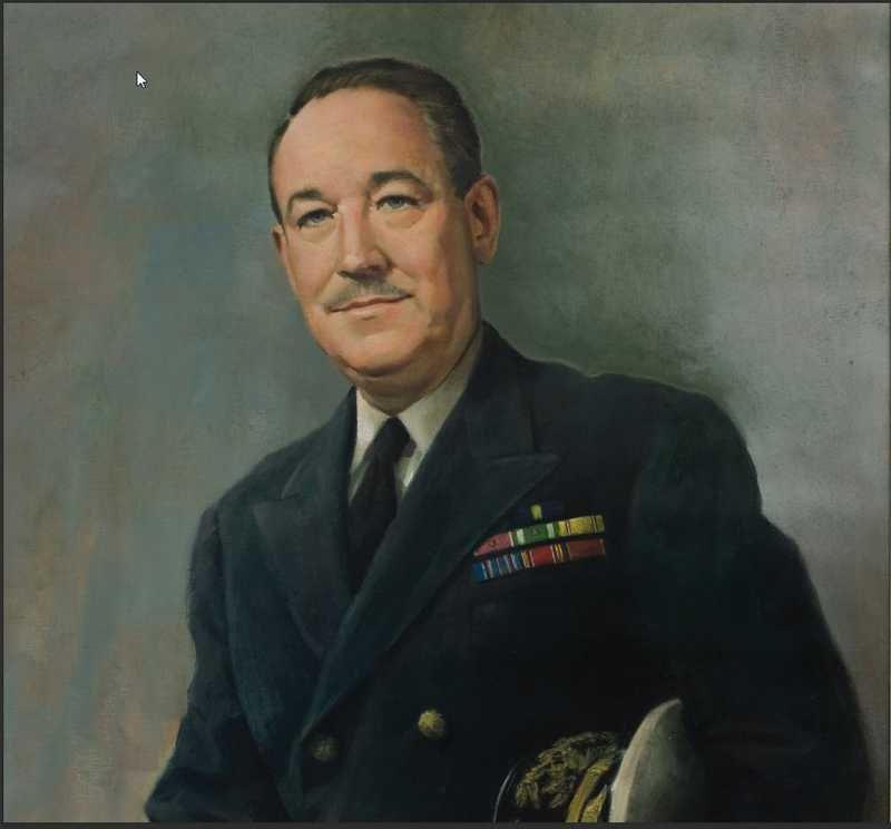 A painted portrait of a man in uniform