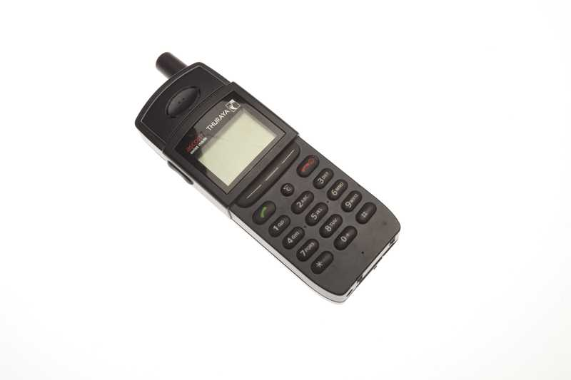 A small black satellite phone.