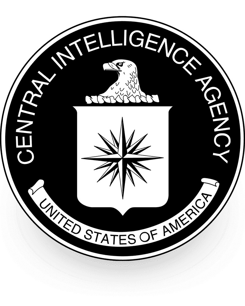 Black and white CIA seal.