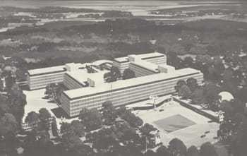 An aerial shot of the CIA Headquarters building.
