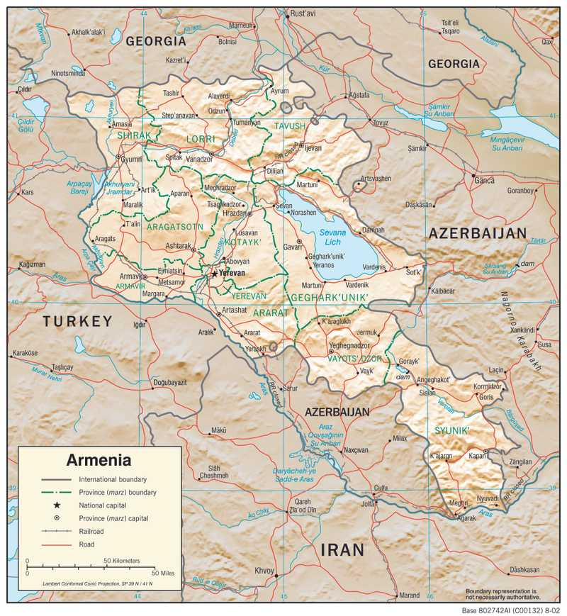 Physiographical map of Armenia.