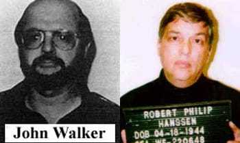 Headshots of John Walker and Robert Philip Hanssen upon arrest.