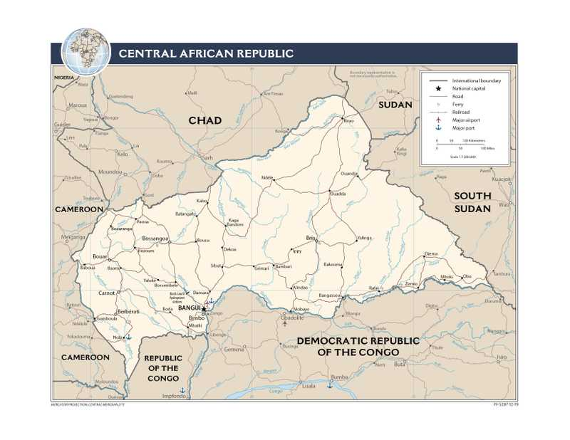 Transportation map of Central African Republic.