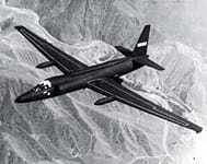 U-2 flying over mountainous land.