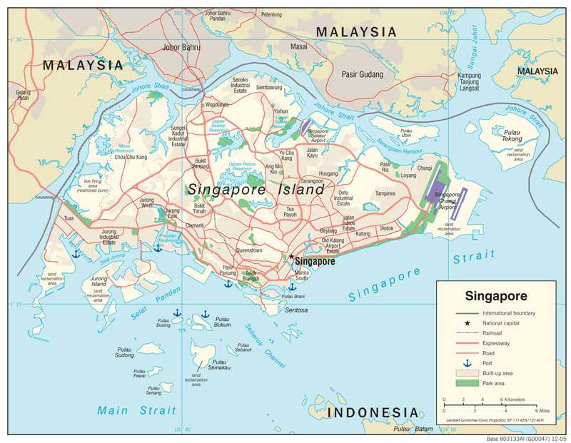 Transportation map of Singapore.