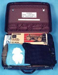 A mock model of the suitcase used to hide plastic explosives that were detonated in Pan Am Flight 103.