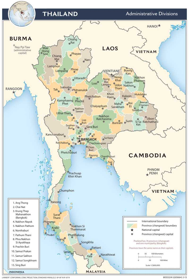 Administrative map of Thailand.
