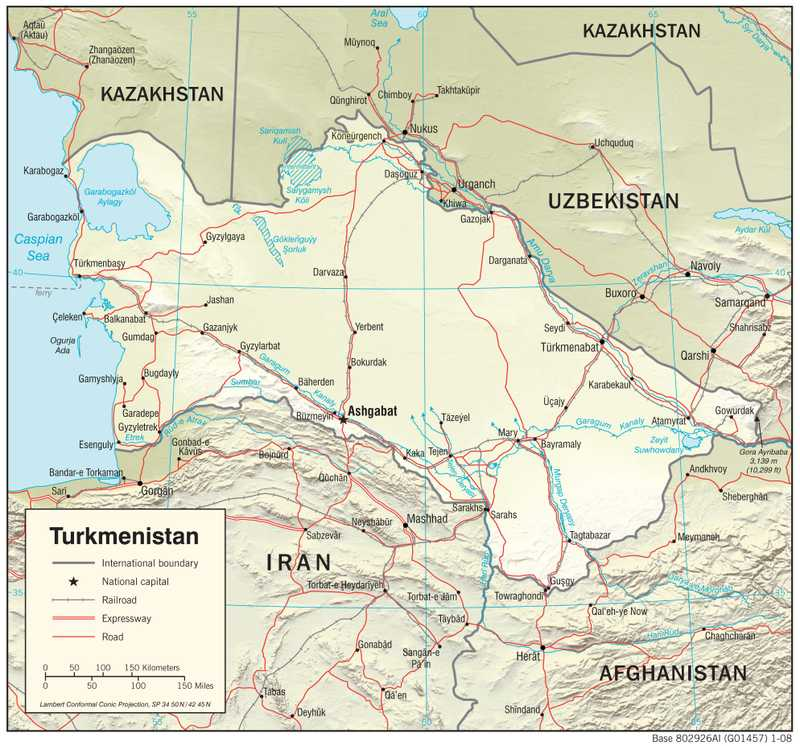 Physiographical map of Turkmenistan.