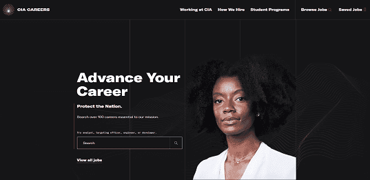 Image showing the new CIA.gov careers page.