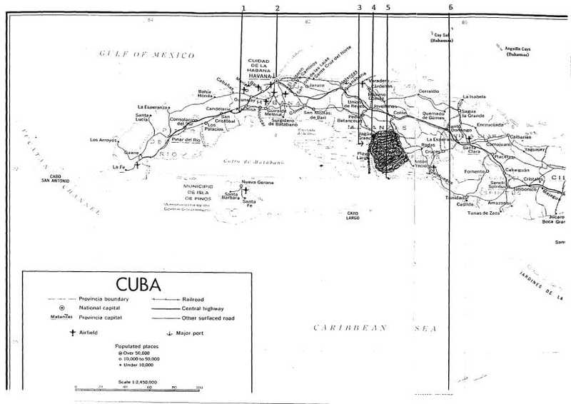A black and white map of Cuba.
